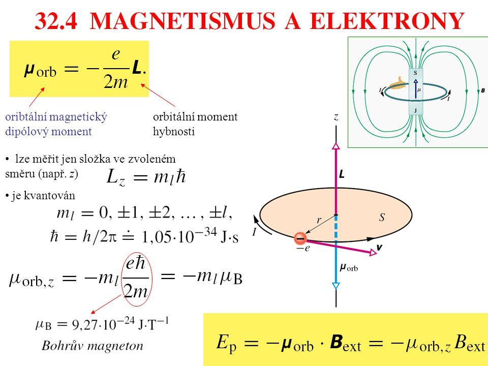 oribtální magnetický dipólový moment orbitální moment hybnosti lze měřit jen složka ve zvoleném směru (např. z) je kvantován
