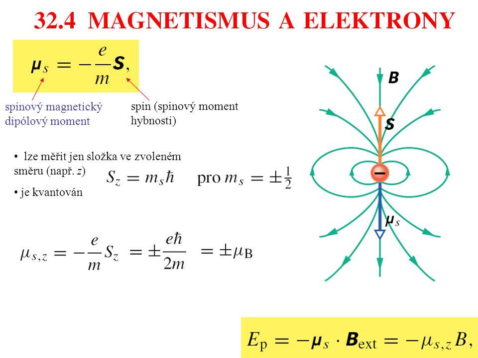 spinový magnetický dipólový moment spin (spinový moment hybnosti) lze měřit jen složka ve zvoleném směru (např. z) je kvantován