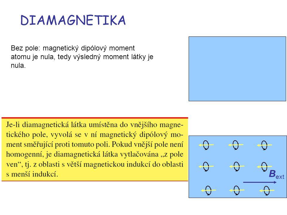 DIAMAGNETIKA B ext Bez pole: magnetický dipólový moment atomu je nula, tedy výsledný moment látky je nula.