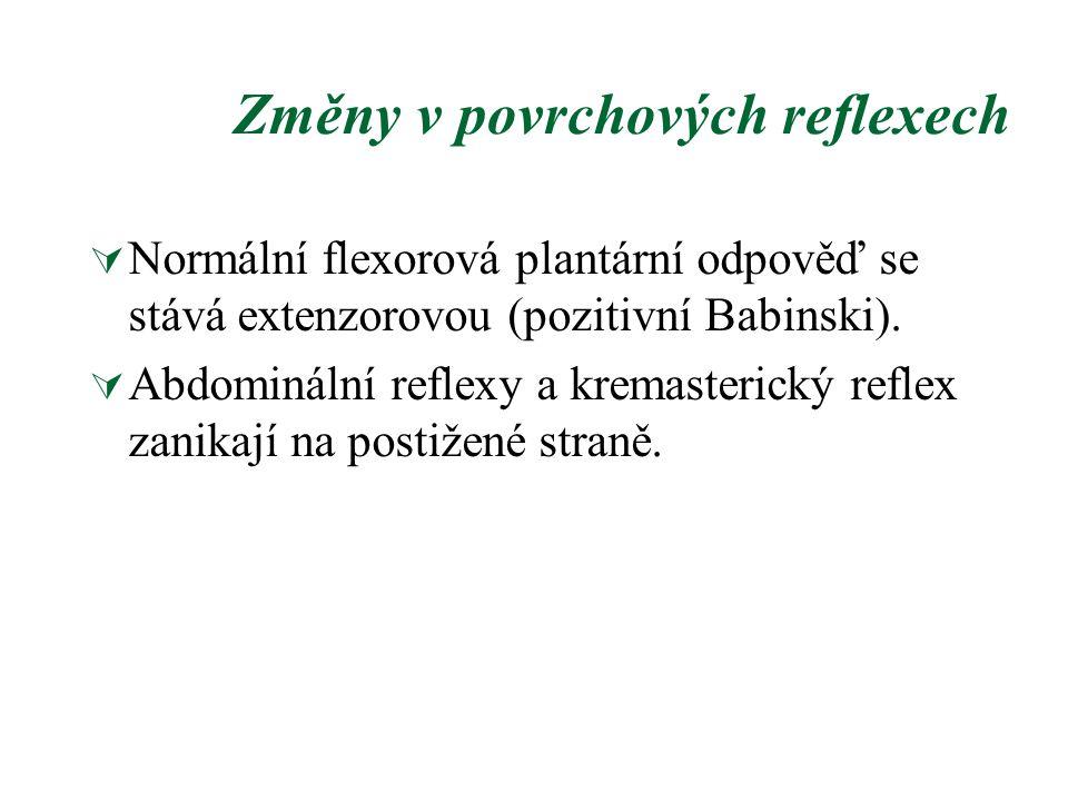 Změny v povrchových reflexech  Normální flexorová plantární odpověď se stává extenzorovou (pozitivní Babinski).  Abdominální reflexy a kremasterický