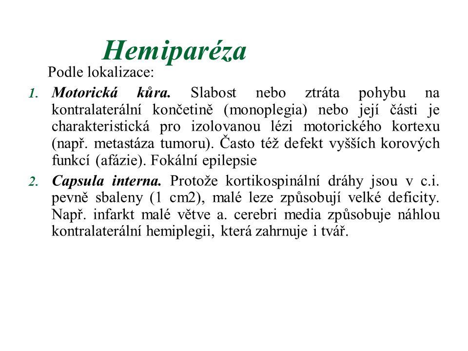Hemiparéza Podle lokalizace: 1. Motorická kůra. Slabost nebo ztráta pohybu na kontralaterální končetině (monoplegia) nebo její části je charakteristic