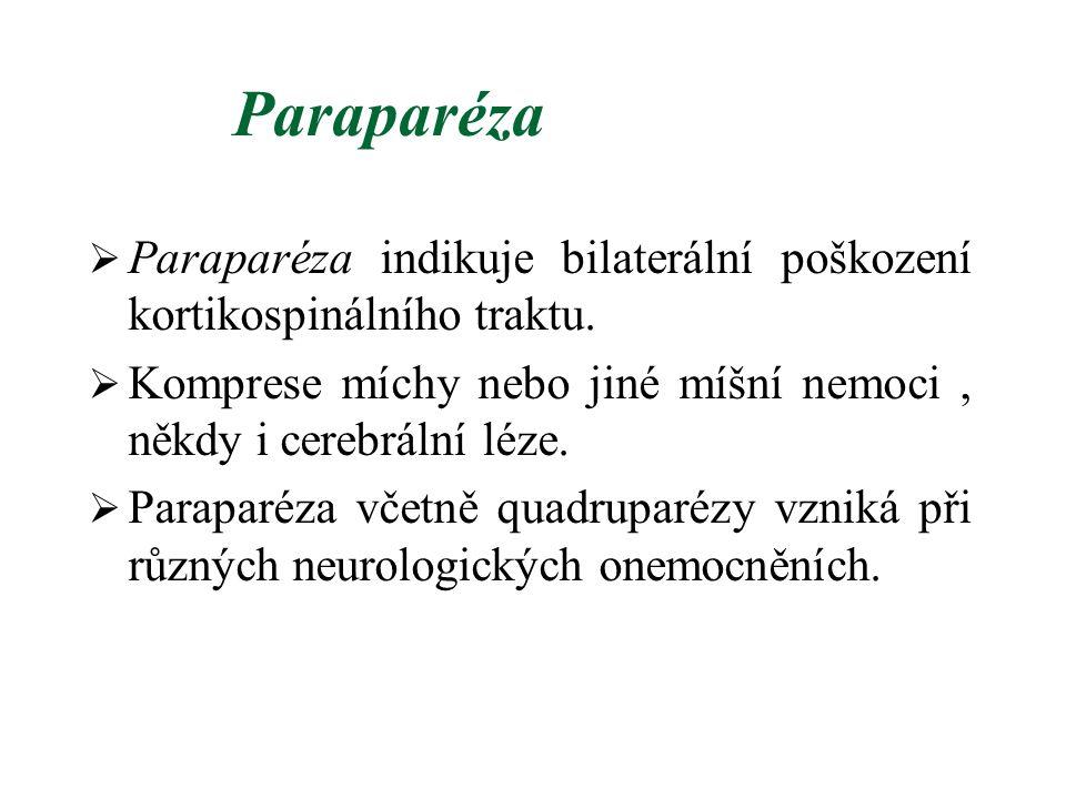 Paraparéza  Paraparéza indikuje bilaterální poškození kortikospinálního traktu.  Komprese míchy nebo jiné míšní nemoci, někdy i cerebrální léze.  P