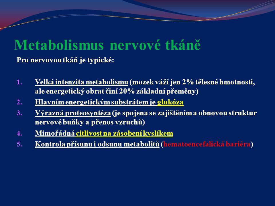 Metabolismus nervové tkáně Pro nervovou tkáň je typické: 1. Velká intenzita metabolismu (mozek váží jen 2% tělesné hmotnosti, ale energetický obrat či