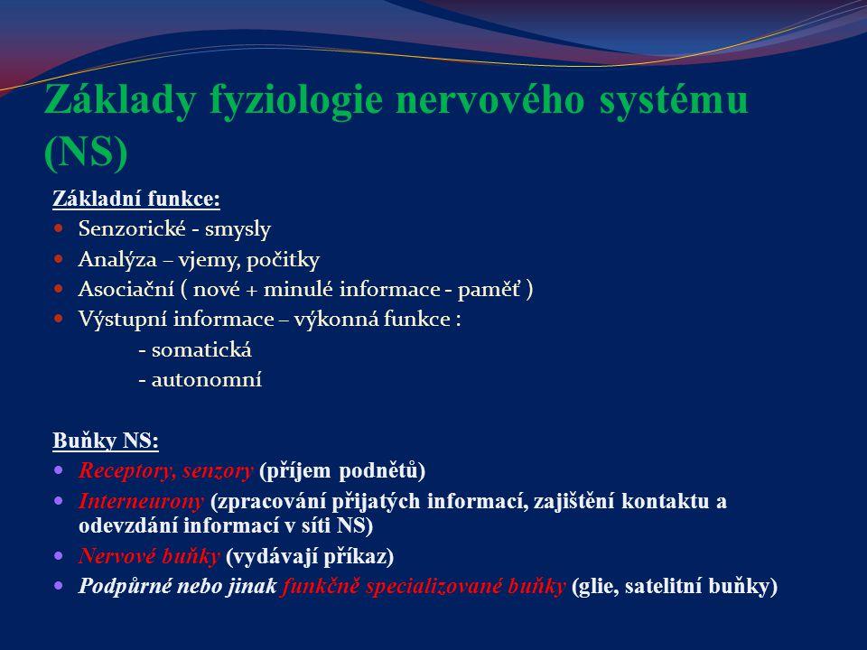 Nervový systém Je hlavním řídícím a integrujícím systémem v organismu Plasticita nervového systému - nervová centra mají více neuronů a dráhy více nervových vláken, než je nutné k uskutečnění jejich funkcí - funkce poškozeného nebo eliminovaného centra přejímá jiná struktura - zastupující funkce = přebírá úlohu vyřazené nervové struktury jinými fyziologickými mechanismy (zrak – hmat) - vyřazení funkce proto, že se nemůže uplatnit, ačkoliv není změněná nebo poškozená odpovídající nervová struktura