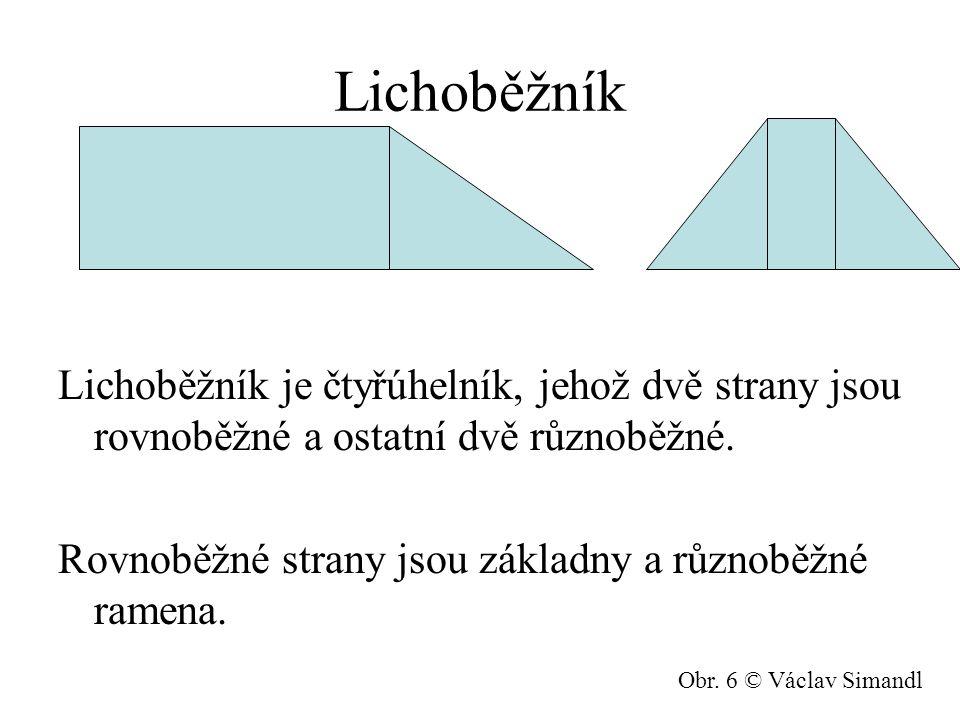 Lichoběžník Lichoběžník je čtyřúhelník, jehož dvě strany jsou rovnoběžné a ostatní dvě různoběžné. Rovnoběžné strany jsou základny a různoběžné ramena