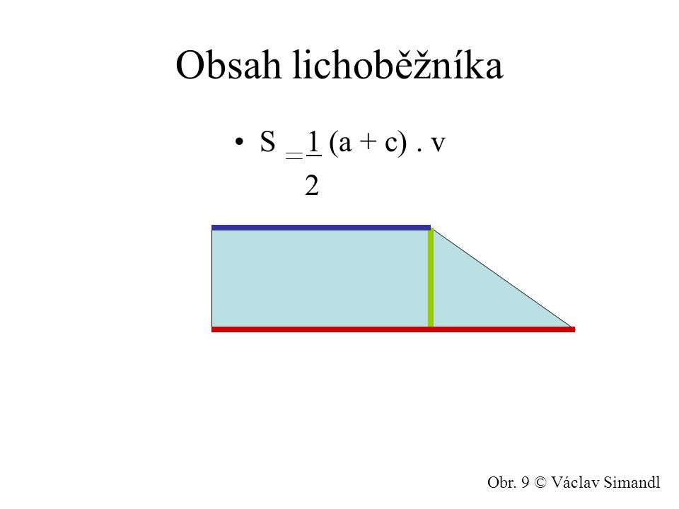 Obsah lichoběžníka S 1 (a + c). v 2 Obr. 9 © Václav Simandl