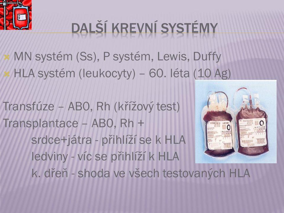  MN systém (Ss), P systém, Lewis, Duffy  HLA systém (leukocyty) – 60. léta (10 Ag) Transfúze – AB0, Rh (křížový test) Transplantace – AB0, Rh + srdc
