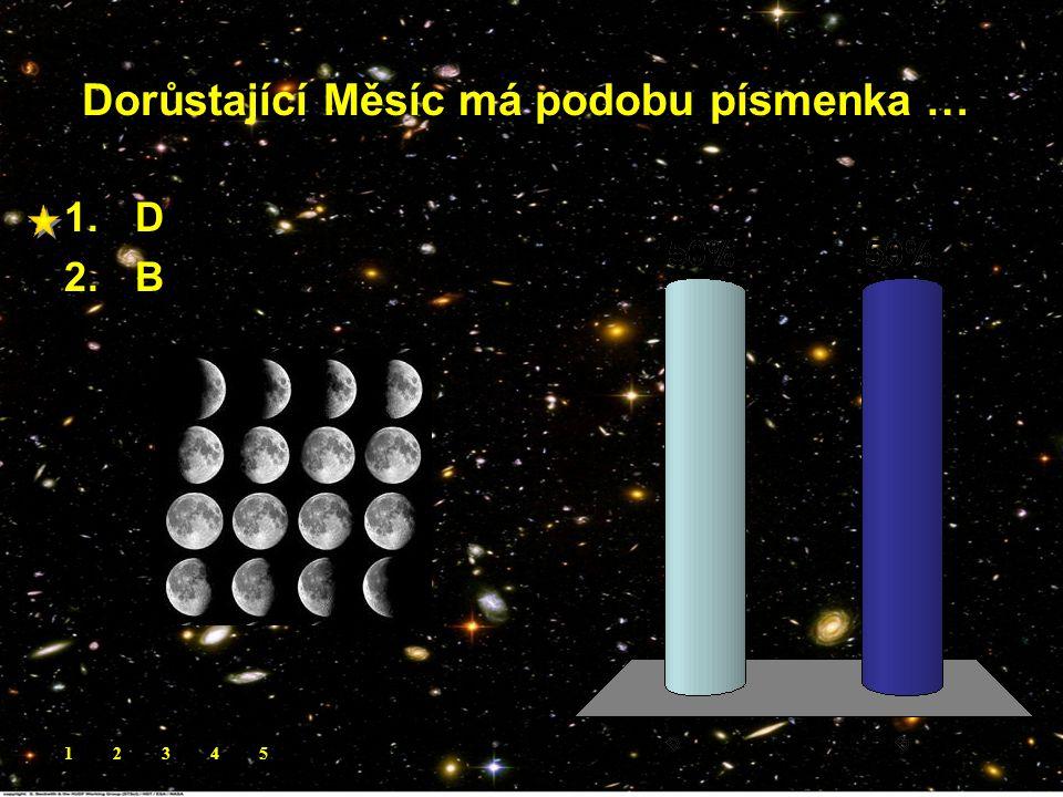 Dorůstající Měsíc má podobu písmenka …. 1.D 2.B 12345