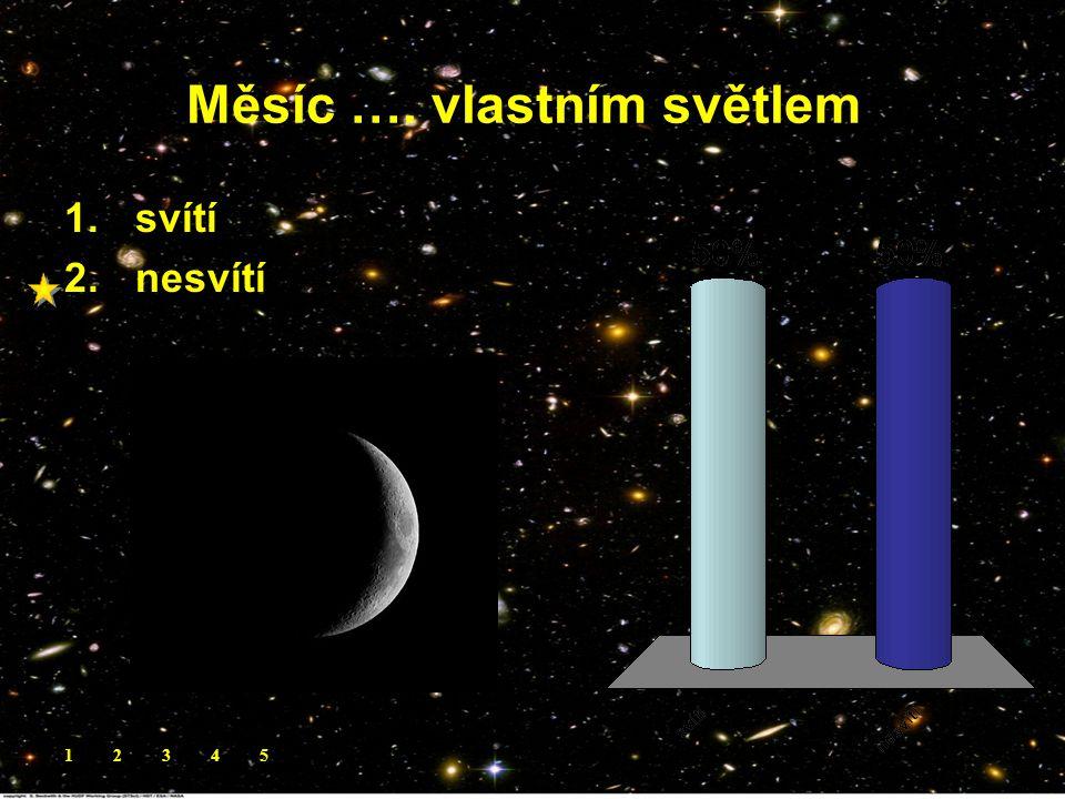 Měsíc …. vlastním světlem. 1.svítí 2.nesvítí 12345