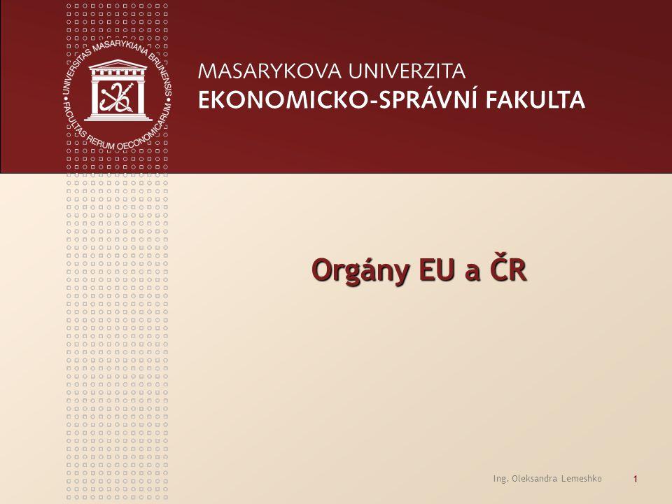 Ing. Oleksandra Lemeshko 1 Orgány EU a ČR Orgány EU a ČR
