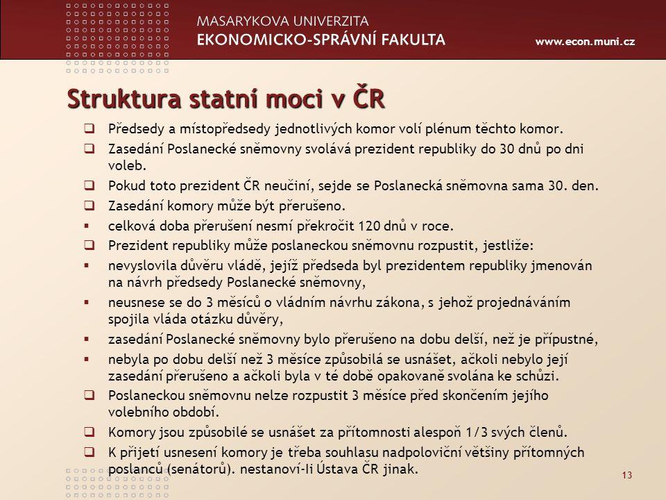 www.econ.muni.cz Struktura statní moci v ČR  Předsedy a místopředsedy jednotlivých komor volí plénum těchto komor.