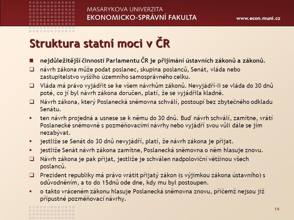 www.econ.muni.cz Struktura statní moci v ČR nejdůležitější činností Parlamentu ČR je přijímání ústavních zákonů a zákonů.