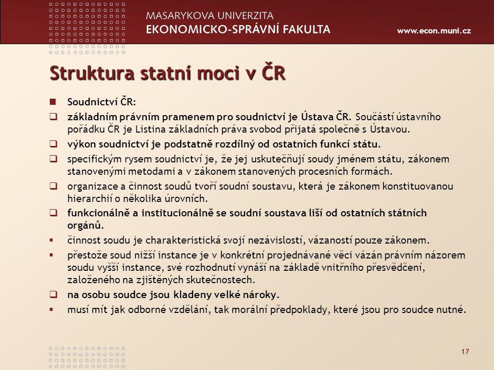 www.econ.muni.cz Struktura statní moci v ČR Soudnictví ČR:  základním právním pramenem pro soudnictví je Ústava ČR.