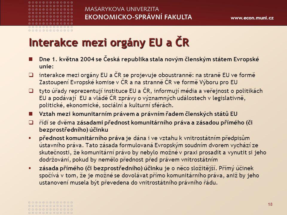 www.econ.muni.cz Interakce mezi orgány EU a ČR Dne 1.