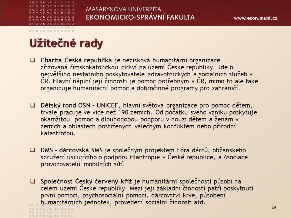 www.econ.muni.cz Užitečné rady  Charita Česká republika je nezisková humanitární organizace zřizovaná římskokatolickou církví na území České republiky.
