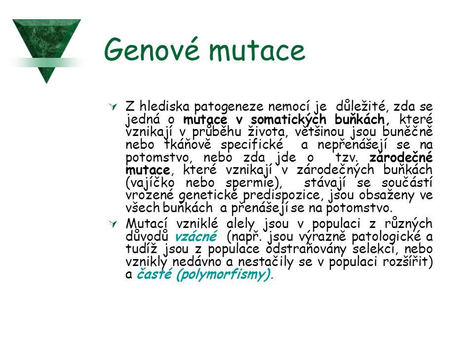 Genové mutace  Z hlediska patogeneze nemocí je důležité, zda se jedná o mutace v somatických buňkách, které vznikají v průběhu života, většinou jsou