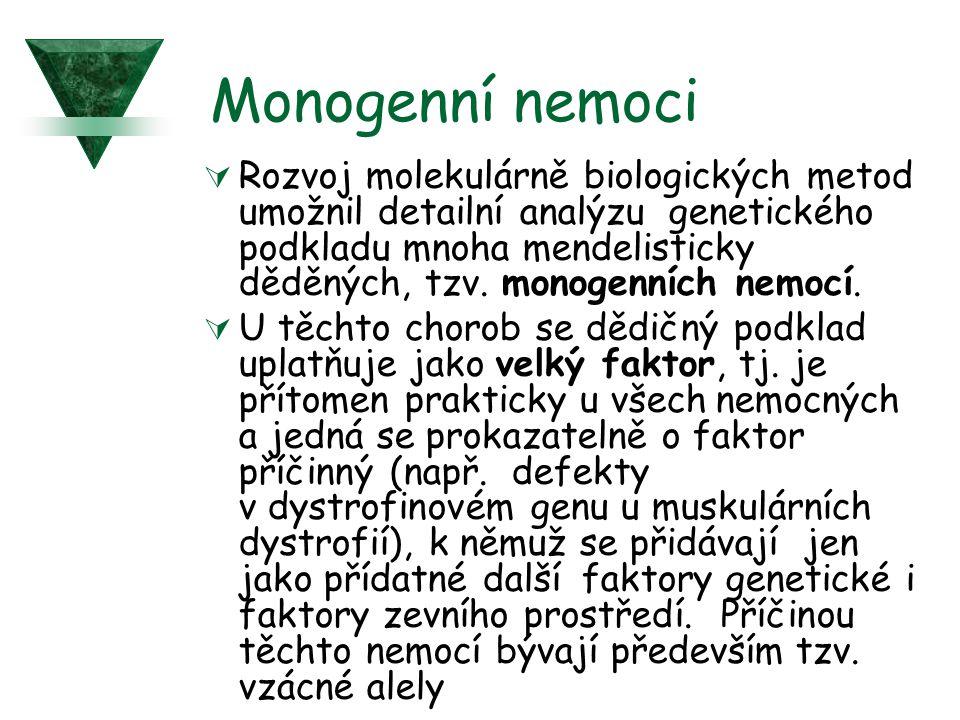 Monogenní nemoci  Rozvoj molekulárně biologických metod umožnil detailní analýzu genetického podkladu mnoha mendelisticky děděných, tzv. monogenních