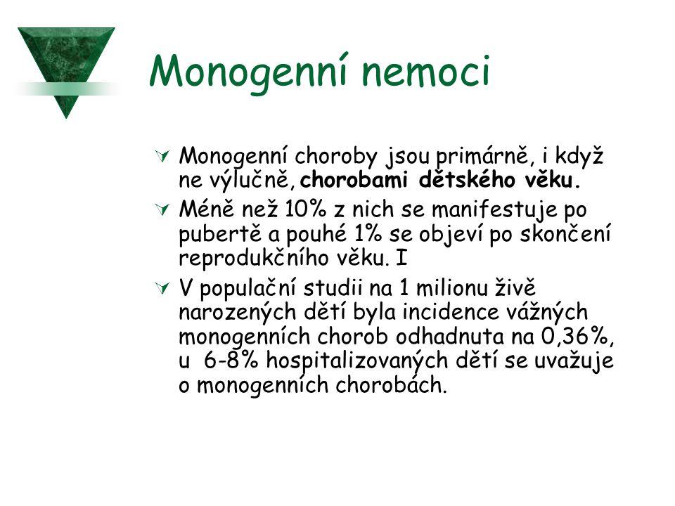 Monogenní nemoci  Monogenní choroby jsou primárně, i když ne výlučně, chorobami dětského věku.  Méně než 10% z nich se manifestuje po pubertě a pouh