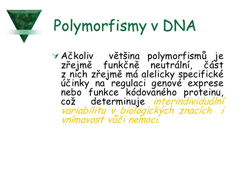 Polymorfismy v DNA  Ačkoliv většina polymorfismů je zřejmě funkčně neutrální, část z nich zřejmě má alelicky specifické účinky na regulaci genové exp