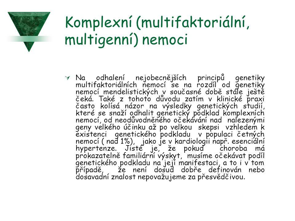 Komplexní (multifaktoriální, multigenní) nemoci  Na odhalení nejobecnějších principů genetiky multifaktoriálních nemocí se na rozdíl od genetiky nemo