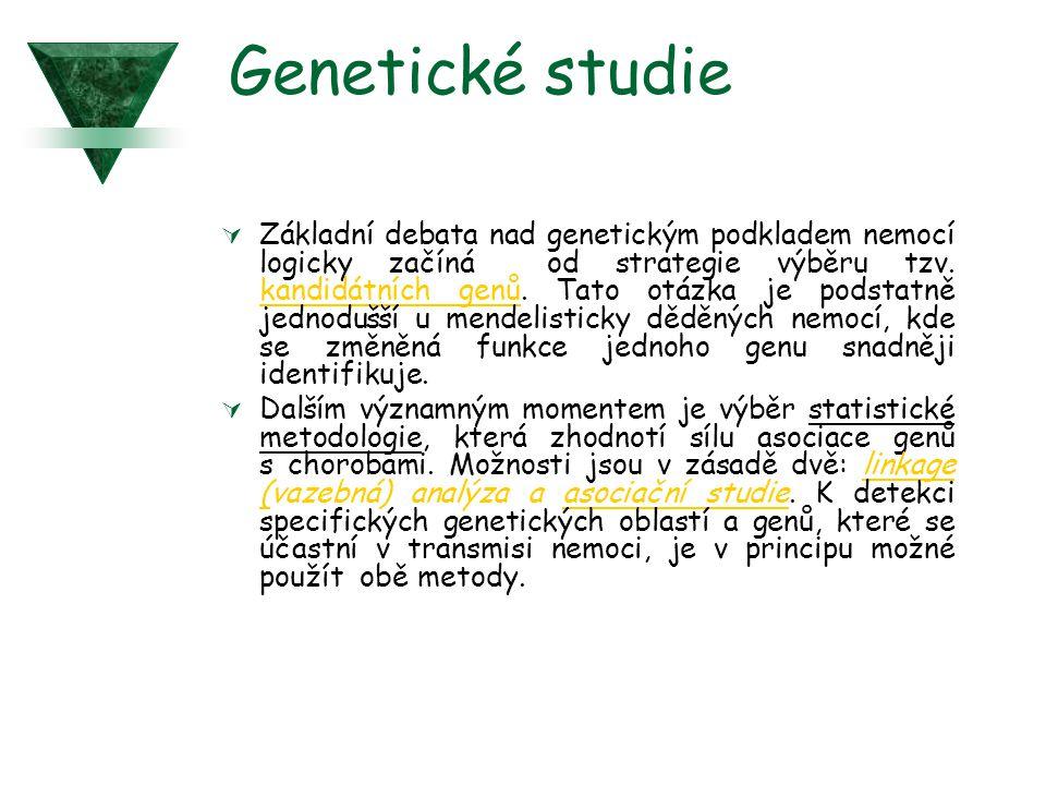 Genetické studie  Základní debata nad genetickým podkladem nemocí logicky začíná od strategie výběru tzv. kandidátních genů. Tato otázka je podstatně