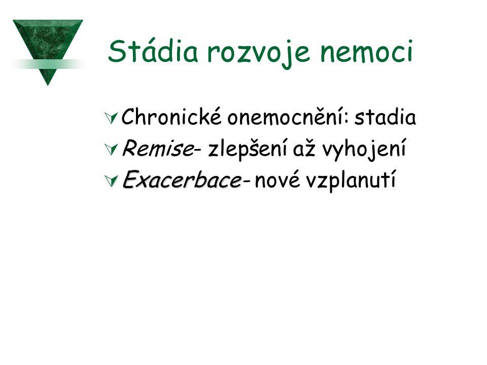Stádia rozvoje nemoci  Chronické onemocnění: stadia  Remise- zlepšení až vyhojení  Exacerbace  Exacerbace- nové vzplanutí