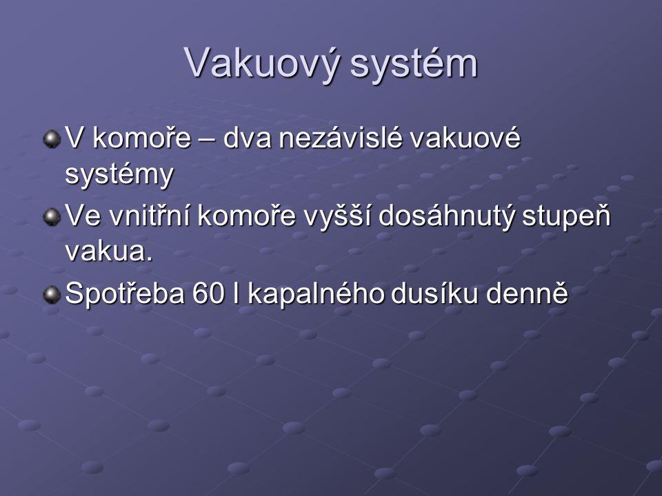 Vakuový systém V komoře – dva nezávislé vakuové systémy Ve vnitřní komoře vyšší dosáhnutý stupeň vakua. Spotřeba 60 l kapalného dusíku denně