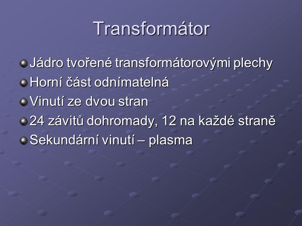 Transformátor Jádro tvořené transformátorovými plechy Horní část odnímatelná Vinutí ze dvou stran 24 závitů dohromady, 12 na každé straně Sekundární v