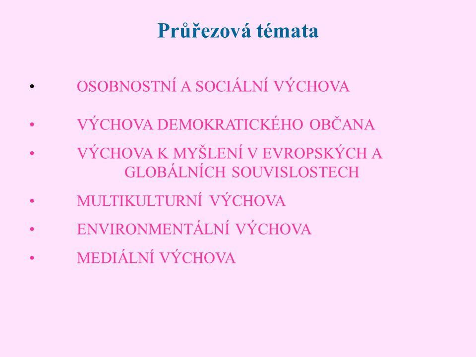 Průřezová témata OSOBNOSTNÍ A SOCIÁLNÍ VÝCHOVA VÝCHOVA DEMOKRATICKÉHO OBČANA VÝCHOVA K MYŠLENÍ V EVROPSKÝCH A GLOBÁLNÍCH SOUVISLOSTECH MULTIKULTURNÍ V