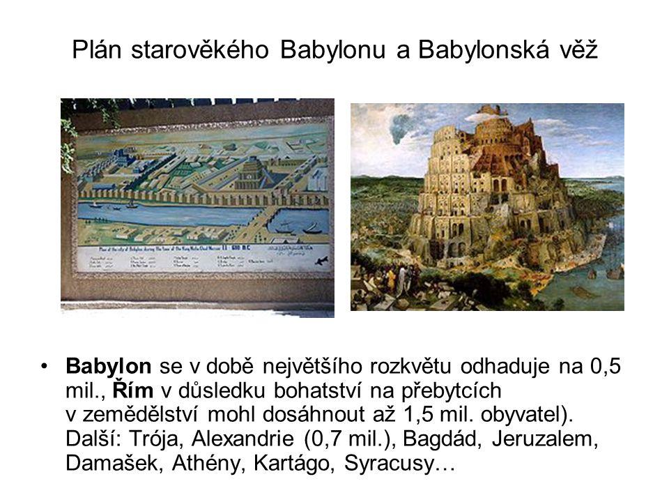 Plán starověkého Babylonu a Babylonská věž Babylon se v době největšího rozkvětu odhaduje na 0,5 mil., Řím v důsledku bohatství na přebytcích v zemědě