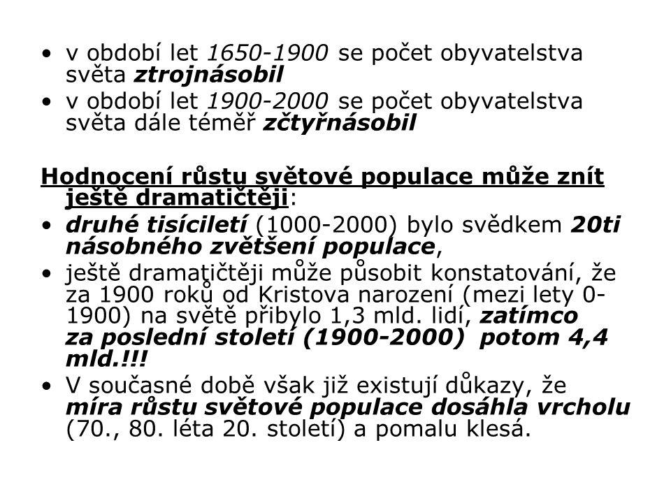 v období let 1650-1900 se počet obyvatelstva světa ztrojnásobil v období let 1900-2000 se počet obyvatelstva světa dále téměř zčtyřnásobil Hodnocení r