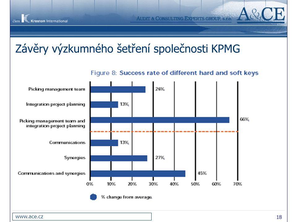 19 www.ace.cz Závěry výzkumného šetření společnosti KPMG 2.Ocenění hodnoty obou společností, její komparace s oceněním synergie(resp.