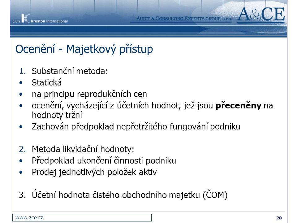 20 www.ace.cz Ocenění - Majetkový přístup 1.Substanční metoda: Statická na principu reprodukčních cen ocenění, vycházející z účetních hodnot, jež jsou