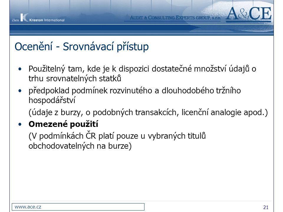 21 www.ace.cz Ocenění - Srovnávací přístup Použitelný tam, kde je k dispozici dostatečné množství údajů o trhu srovnatelných statků předpoklad podmíne