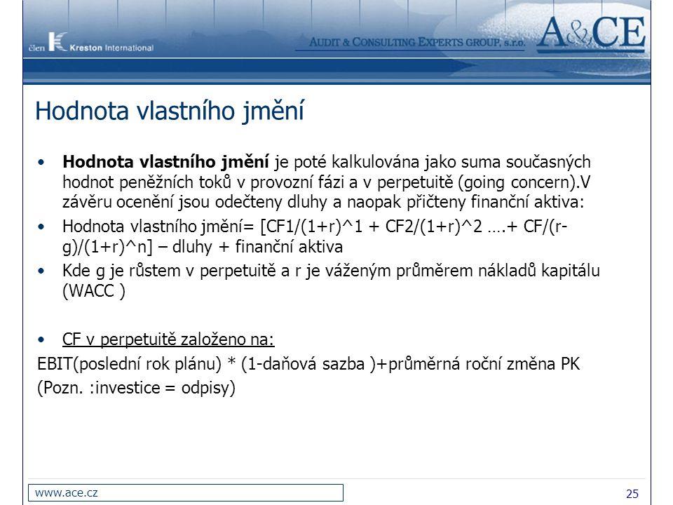 25 www.ace.cz Hodnota vlastního jmění Hodnota vlastního jmění je poté kalkulována jako suma současných hodnot peněžních toků v provozní fázi a v perpe