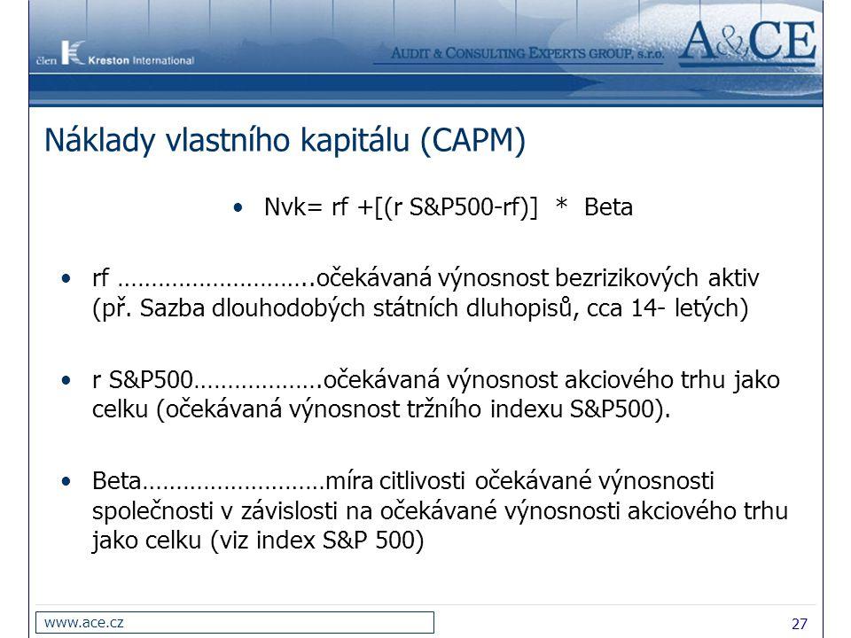 27 www.ace.cz Náklady vlastního kapitálu (CAPM) Nvk= rf +[(r S&P500-rf)] * Beta rf ………………………..očekávaná výnosnost bezrizikových aktiv (př. Sazba dlouh