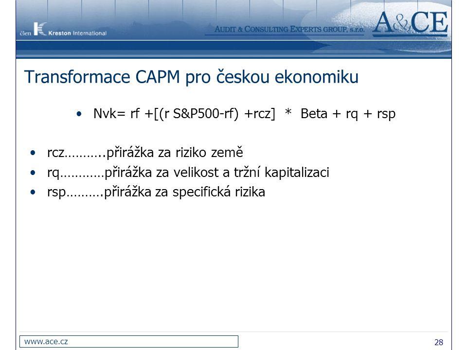 28 www.ace.cz Transformace CAPM pro českou ekonomiku Nvk= rf +[(r S&P500-rf) +rcz] * Beta + rq + rsp rcz………..přirážka za riziko země rq…………přirážka za
