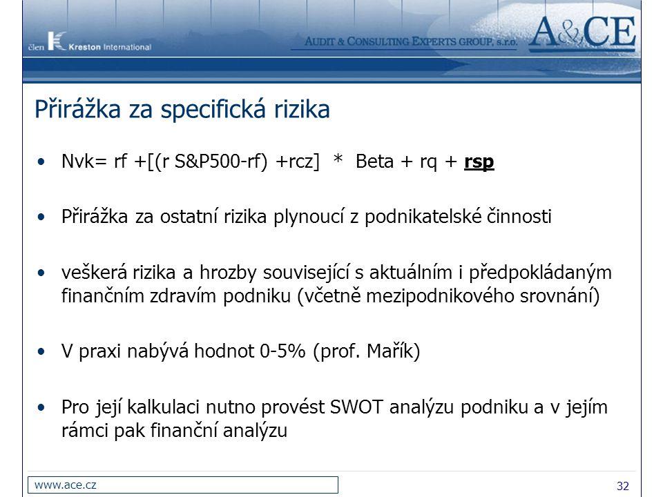 32 www.ace.cz Přirážka za specifická rizika Nvk= rf +[(r S&P500-rf) +rcz] * Beta + rq + rsp Přirážka za ostatní rizika plynoucí z podnikatelské činnosti veškerá rizika a hrozby související s aktuálním i předpokládaným finančním zdravím podniku (včetně mezipodnikového srovnání) V praxi nabývá hodnot 0-5% (prof.