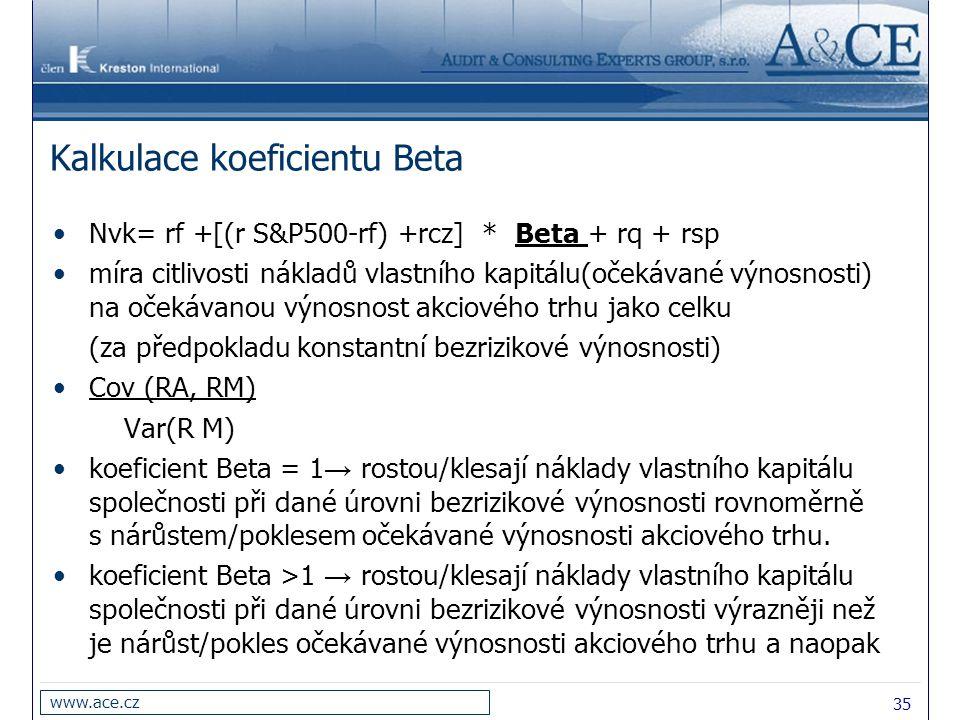 35 www.ace.cz Kalkulace koeficientu Beta Nvk= rf +[(r S&P500-rf) +rcz] * Beta + rq + rsp míra citlivosti nákladů vlastního kapitálu(očekávané výnosnosti) na očekávanou výnosnost akciového trhu jako celku (za předpokladu konstantní bezrizikové výnosnosti) Cov (RA, RM) Var(R M) koeficient Beta = 1 → rostou/klesají náklady vlastního kapitálu společnosti při dané úrovni bezrizikové výnosnosti rovnoměrně s nárůstem/poklesem očekávané výnosnosti akciového trhu.
