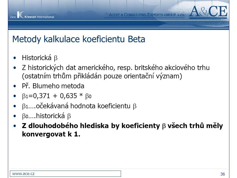 36 www.ace.cz Metody kalkulace koeficientu Beta Historická  Z historických dat amerického, resp. britského akciového trhu (ostatním trhům přikládán p