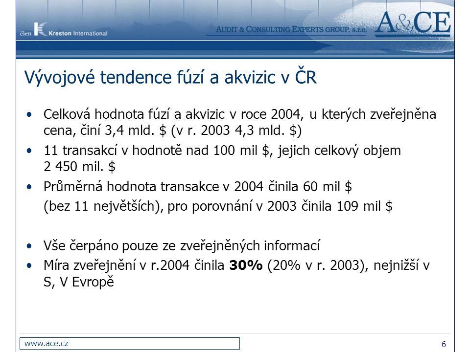 6 www.ace.cz Vývojové tendence fúzí a akvizic v ČR Celková hodnota fúzí a akvizic v roce 2004, u kterých zveřejněna cena, činí 3,4 mld. $ (v r. 2003 4