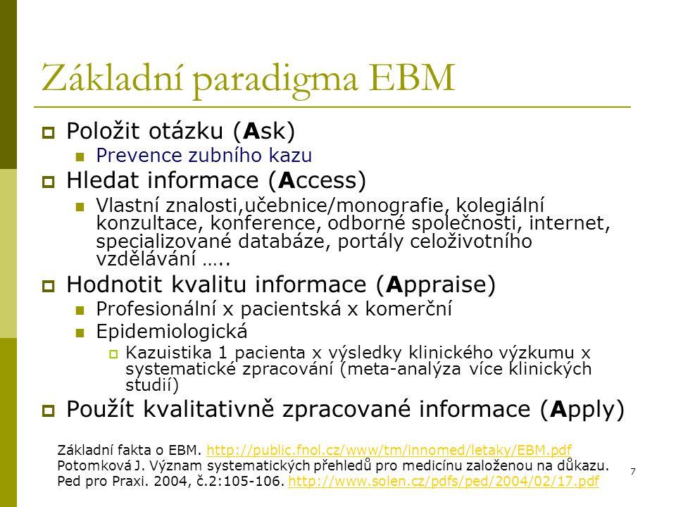 """28 MEDLINE/PubMed http://www.pubmed.gov http://www.pubmed.gov Téma 1 """"Prevence zubního kazu"""