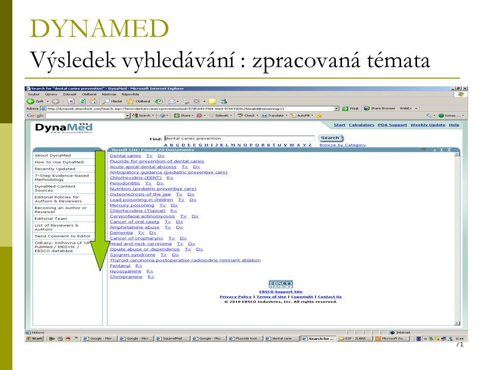 71 DYNAMED Výsledek vyhledávání : zpracovaná témata