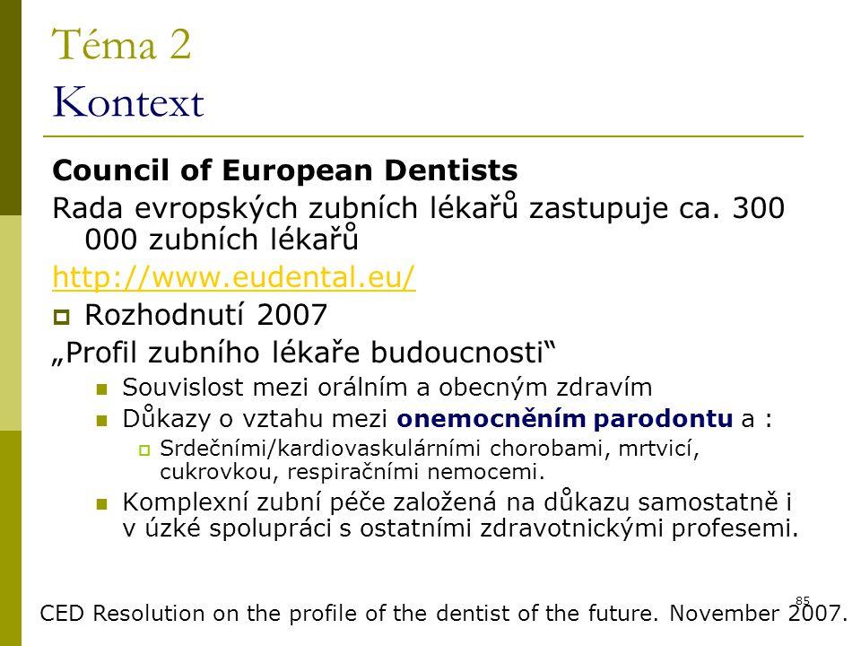 85 Téma 2 Kontext Council of European Dentists Rada evropských zubních lékařů zastupuje ca. 300 000 zubních lékařů http://www.eudental.eu/  Rozhodnut