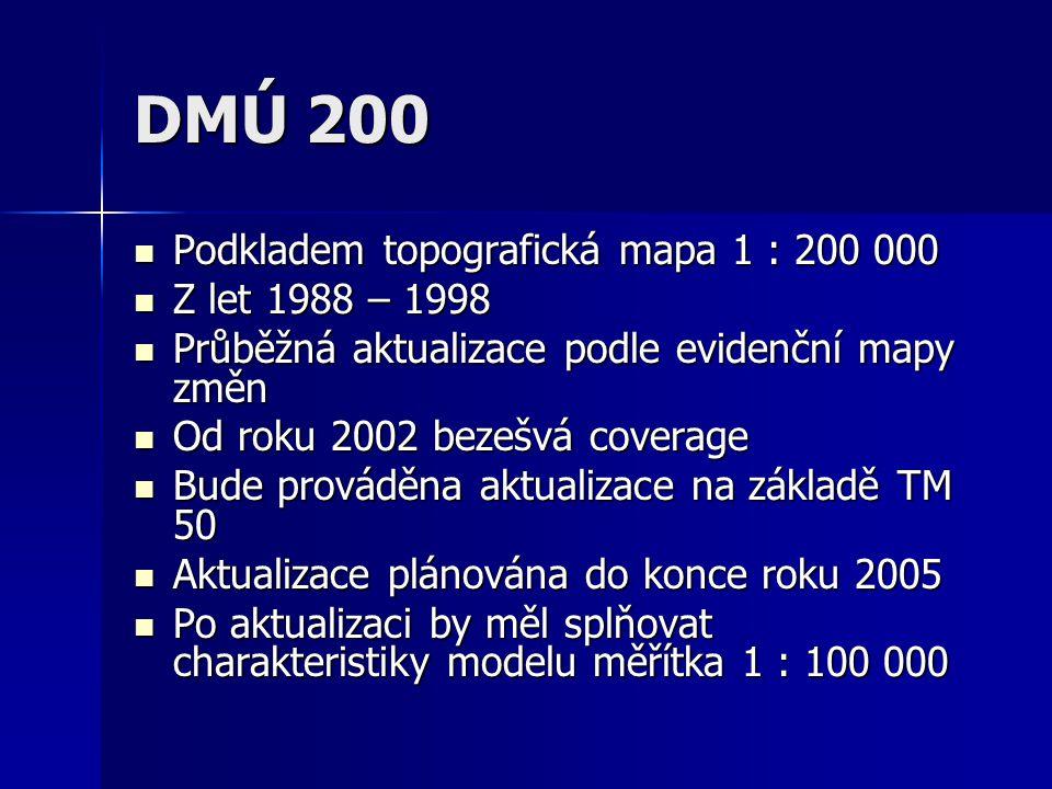 DMÚ 200 Podkladem topografická mapa 1 : 200 000 Podkladem topografická mapa 1 : 200 000 Z let 1988 – 1998 Z let 1988 – 1998 Průběžná aktualizace podle