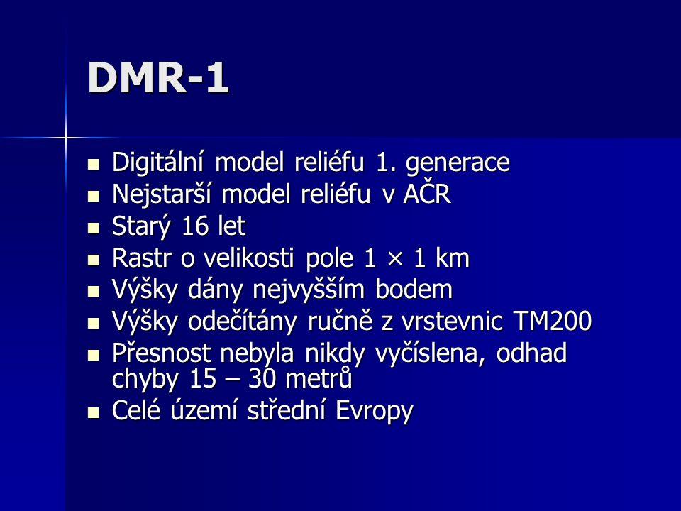 DMR-1 Digitální model reliéfu 1. generace Digitální model reliéfu 1. generace Nejstarší model reliéfu v AČR Nejstarší model reliéfu v AČR Starý 16 let