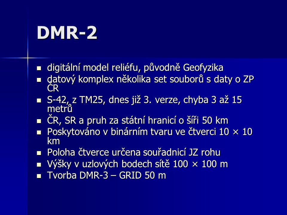 DMR-2 digitální model reliéfu, původně Geofyzika digitální model reliéfu, původně Geofyzika datový komplex několika set souborů s daty o ZP ČR datový