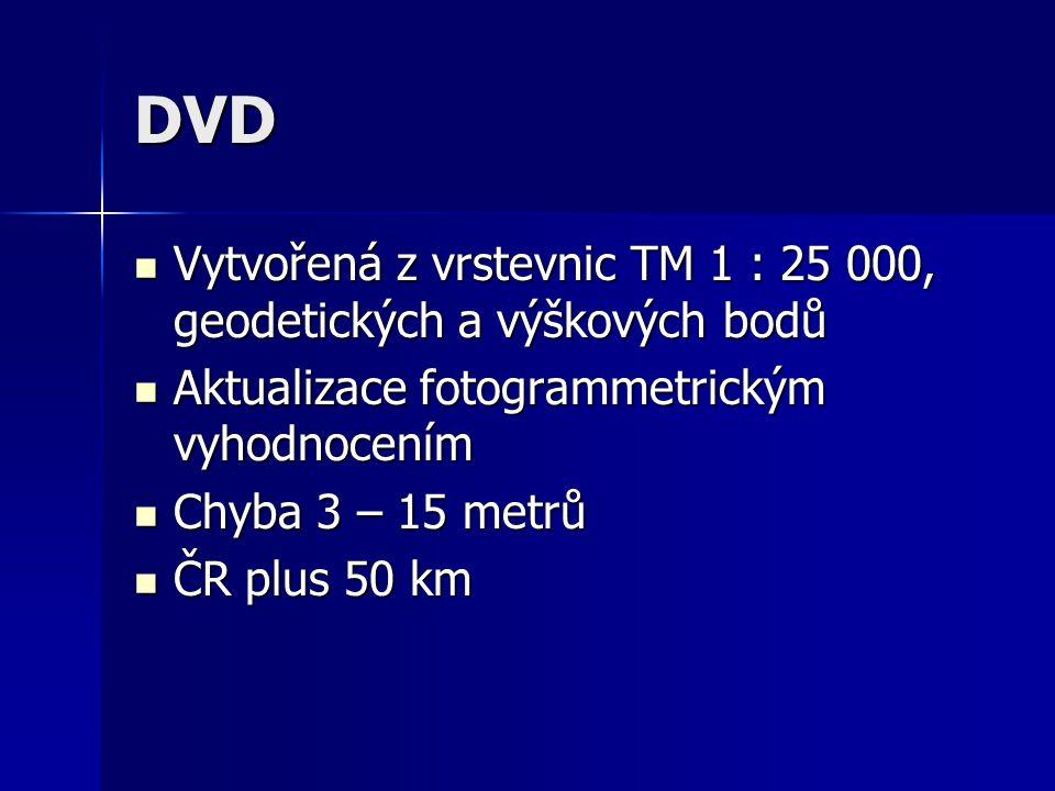 DVD Vytvořená z vrstevnic TM 1 : 25 000, geodetických a výškových bodů Vytvořená z vrstevnic TM 1 : 25 000, geodetických a výškových bodů Aktualizace