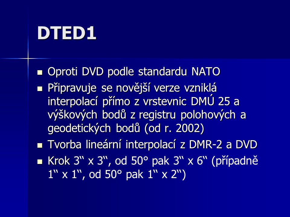 DTED1 Oproti DVD podle standardu NATO Oproti DVD podle standardu NATO Připravuje se novější verze vzniklá interpolací přímo z vrstevnic DMÚ 25 a výško