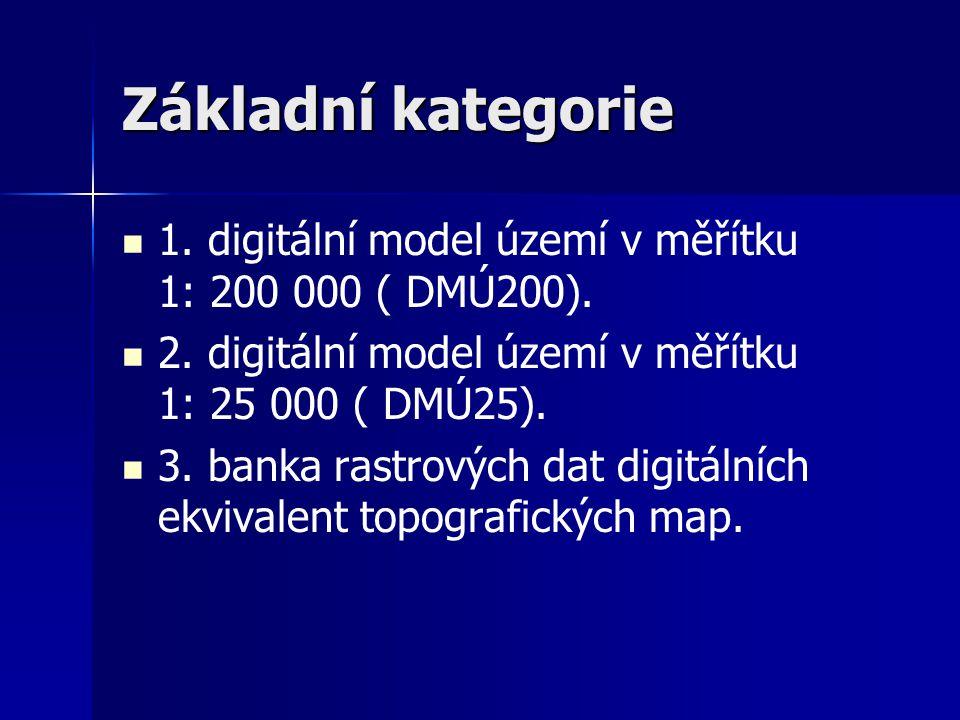 Topografické mapy topografické mapy měřítka 1 : 25 000 (TM 25); topografické mapy měřítka 1 : 50 000 (TM 50); topografické mapy měřítka 1 : 100 000 (TM 100).